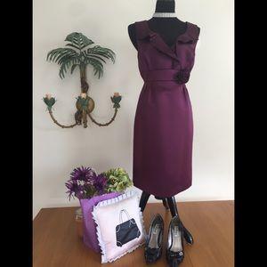 Plum Tahari Cocktail Satin Dress Sz 10